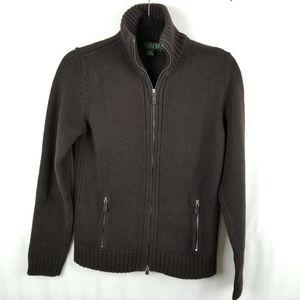 Ralph Lauren (RLL) brown cotton zip sweater Med